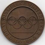 1952 Oslo médaille olympique de participant recto, cuivre - athlètes et officiels - 56 mm - 1900 ex. - fabrication Th. Marthinsen (Tønsberg, Norvège)