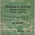 1960 Rome programme olympique cérémonie d'ouverture, 25/08/1960 21 x 15,5 cm