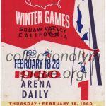 1960 Squaw Valley billet olympique cérémonie d'ouverture 18/02/1960, 8,8 x 5,0 cm