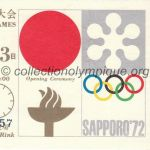 1972 Sapporo billet olympique cérémonie d'ouverture 03/02/1972, 20,2 x 8,4 cm