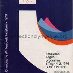 1976 Innsbruck programme de la cérémonie d'ouverture, 04/02/1976 11,8 x 16,7 cm