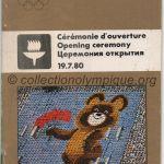 1980 Moscou programme olympique de la cérémonie d'ouverture, 19/07/1980 20 x 10,7 cm