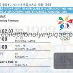 1998 Nagano billet olympique cérémonie d'ouverture 07/02/1998, 16,4 x 7 cm
