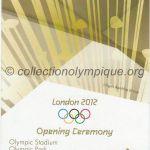 2012 Londres billet olympique cérémonie d'ouverture, 27/07/2012, 22,5 x 8,9 cm