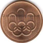 1976 Montréal médaille olympique de participant recto, cuivre - athlètes et officiels - 45 mm - 19 760 ex. - designers Georges HUEL - Pierre-Yves PELLETIER