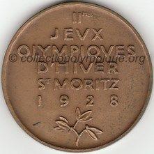 1928 Saint Moritz médaille de participant, verso