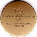 1998 Nagano olympic participant medal recto, copper - athlets, officials and medias - 60 mm - 19000 ex.