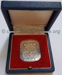 1968 Grenoble médaille en argent, uniface, boite
