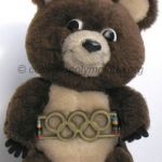 1980 Moscow olympic mascot, Misha the bear, plush, height 20 cm