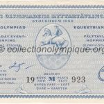 1956 Stockholm olympic ticket equestrian jumping recto