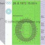 1972 Munich billet olympique cérémonie ouverture recto