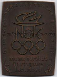 Années 60, médaille comité olympique de l'ex RDA (République Démocratique Allemande) recto