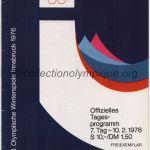 1976 Innsbruck programme olympique journalier n°7, Patinage, luge, ski de fond, slalom, hockey 10/02/1964 11,8 x 16,7 cm
