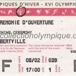 1992 Albertville billet olympique cérémonie ouverture recto