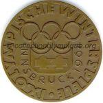 1964 Innsbruck médaille olympique participant recto, bronze - athlètes et officiels - 61 mm - 5000 ex. - designer WELZ, fabrication Monnaie d'état (Vienne, Autriche)