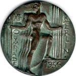 1936 Berlin médaille olympique de participant recto, bronze - athlètes et officiels - 70 mm - 5 000 ex. - designer Otto PLACZEK