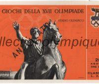 1960 Rome billet d'entrée olympique cérémonie d'ouverture catégorie III