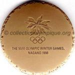 1998 Nagano médaille olympique participant recto, cuivre (90%) / zinc (10%) - athlètes, officiels et médias - 60 mm - 19000 ex.