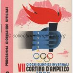 1956 Cortina d'Ampezzo programme olympique journalier, patinage vitesse, ski de fond, bobsleigh, hockey