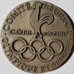 1985 médaille du CROS Côte d'Azur, coq argent, recto