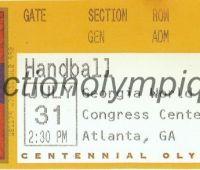 1996 Atlanta billet d'entrée olympique session handball du 31 Juillet