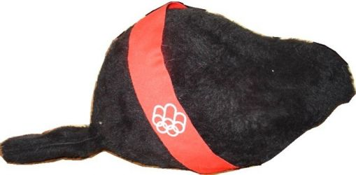 1976 Montreal olympic mascot, Amik, plush with red ribbon