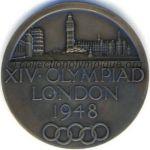 1948 Londres médaille olympique participant recto, bronze - athlètes et membres CNO - 51 mm - 8678 ex. - designers Bertram MACKENNAL - John PINCHES