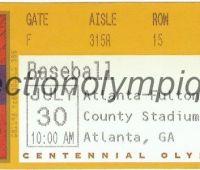 1996 Atlanta billet d'entrée olympique session baseball