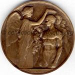 1924 Paris olympic participant medal recto, bronze - athlets and officials - 55mm - 9 500 ex. - designer Raoul BENARD