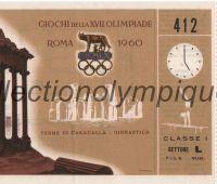 1960 Rome billet d'entrée olympique gymnastique