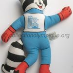1980 Lake Placid olympic mascot, Roni the raccoon, tissue made height 37 cm