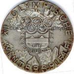 1976 Innsbruck médaille olympique participant recto, bronze argenté - athlètes - 50 mm - designer W. PICHL