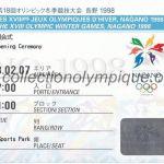 1998 Nagano billet olympique cérémonie ouverture recto