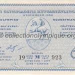 1956 Stockholm billet olympique équitation saut recto