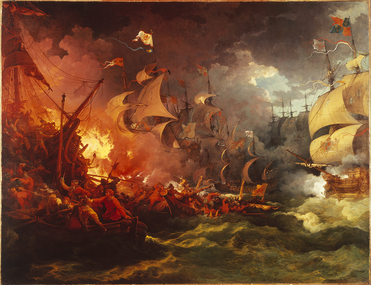 Image result for Defeat of the Spanish Armada, 8th August 1588 by Philippe-Jacques de Loutherbourg