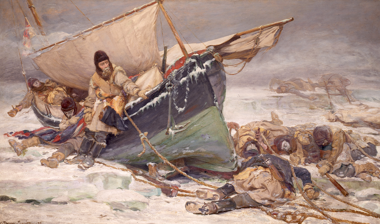 'They forged the last links with their lives': Sir John Franklin's men dying by their boat during the North-West Passage expedition. 1895 painting by William Thomas Smith. Copyright National Maritime Museum, Greenwich, London