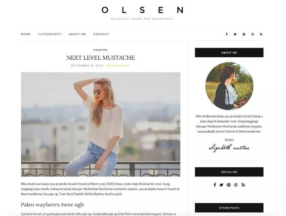 free feminine wordpress theme- Olsen light