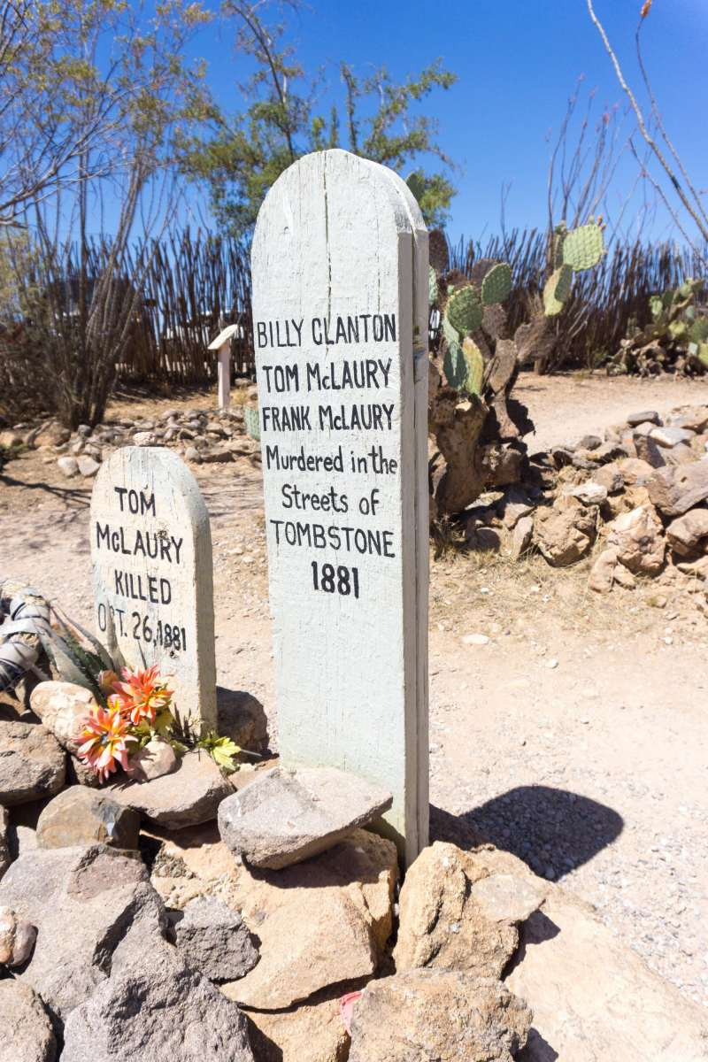 The graves of Billy Clanton, Frank McLaury and Tom McLaury; the three men who were killed during the famed Gunfight at the O.K. Corral.
