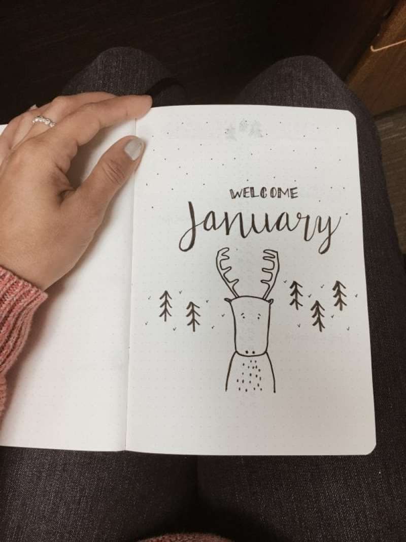 Cute January Bullet Journal cover Wilderness animals