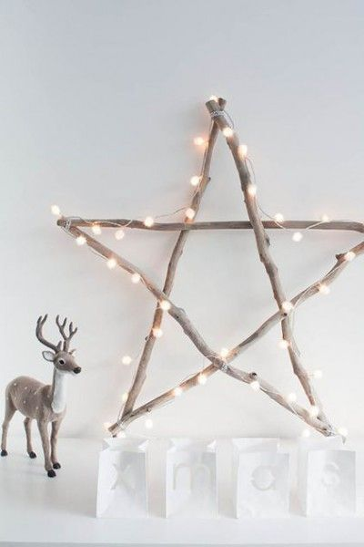 twig star with lights