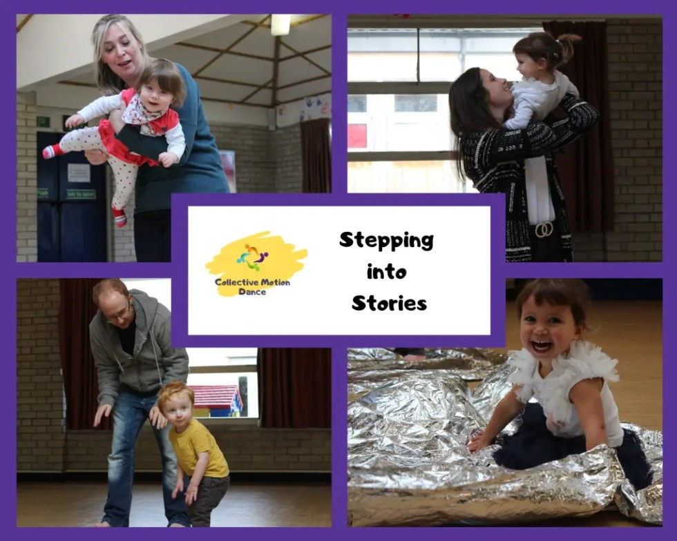 Stepping into Stories; dance and storytelling classes for toddlers, preschoolers and  their parent/carer. 4 photos of children dancing with their carers. Purple border.