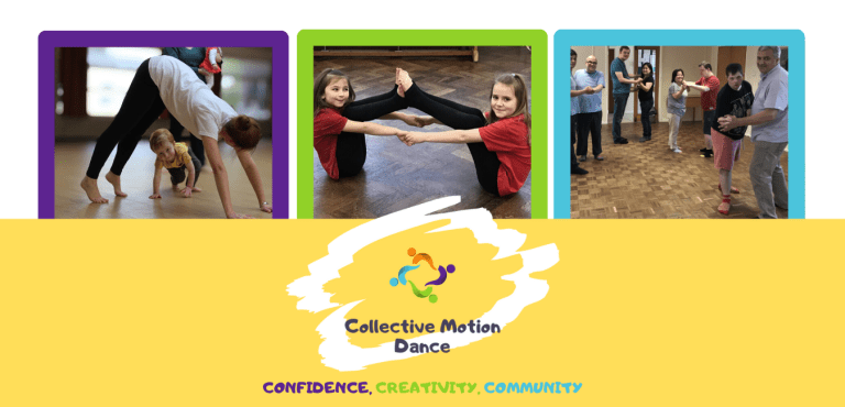 Image of a parent and toddler, primary school pupils and adults with learning disabilities dancing. Yellow banner with the Collective Motion Dance logo on