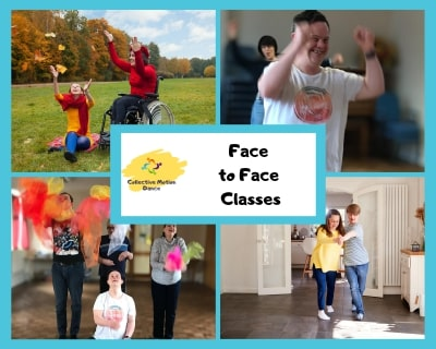 4 images of face to face dance classes