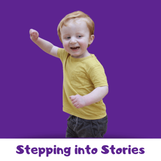 Toddler dancing with purple background