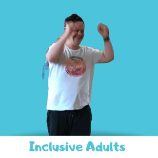 Man with Downs Syndrome smiling and celebrating on a blue background. Text below reads: inclusive adults