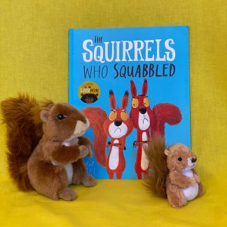 The cover of The Squirrels who squabbled book, with two cuddly toy squirrels in front. On a yellow background