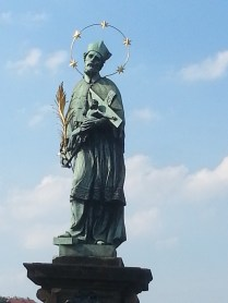 One of several saint statues on a bridge in Prague