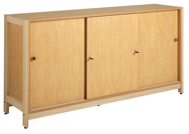 meuble bas 3 portes coulissantes pietement bois