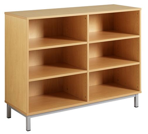 meuble ouvert 1 separation mediane 4 tablettes reglables
