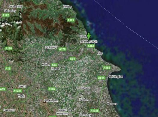 Contact Us   Collectors Centre Online Google Hybrid Map showing the East Coast of England   Scarborough